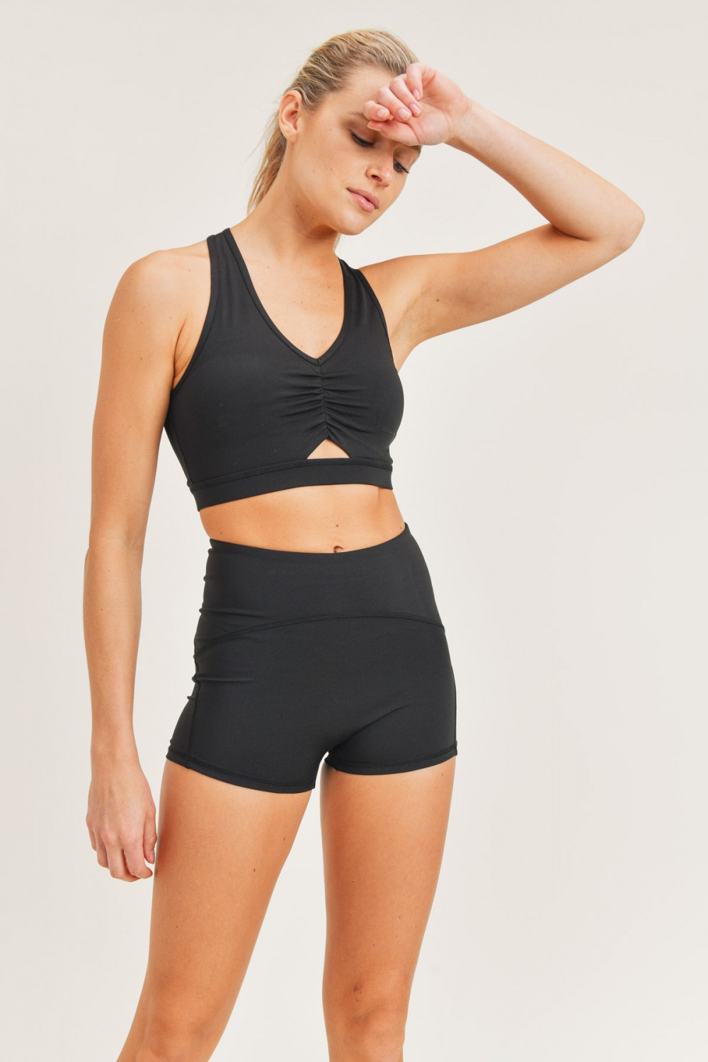 AT3061<br/>Mono B GREEN - Peekaboo Sports Bra with Gathered Front (AT3061)
