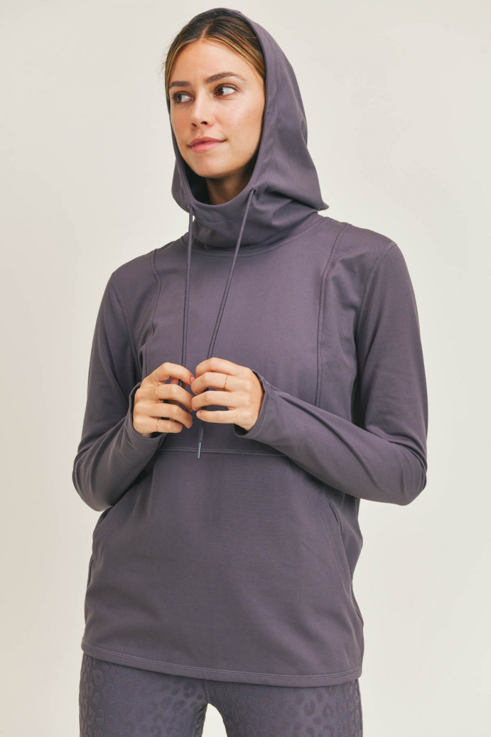 AT8044<br/>Mono B GREEN Boxy Active Essential Hoodie Pullover with Thumb Holes (AT8044)