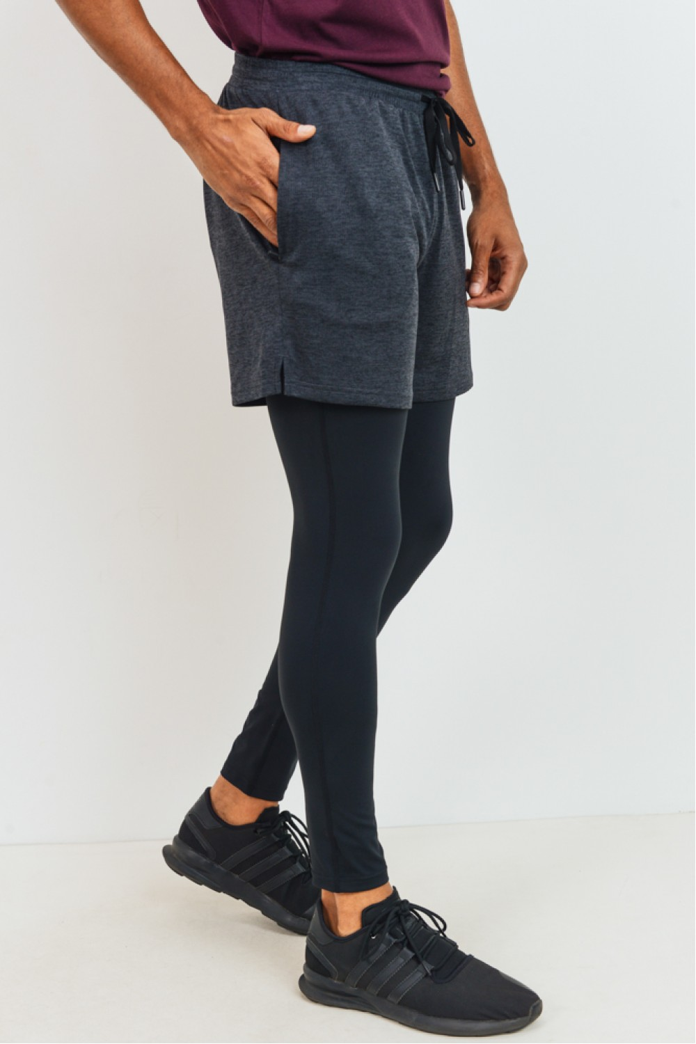 MB527<br/>Mono B MEN - 2 in 1 Active Shorts with Fitted Leggings Combo (MB527)